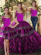 Artistic Sleeveless Floor Length Embroidery and Ruffles Lace Up Vestidos de Quinceanera with Fuchsia