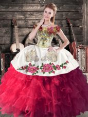 Embroidery and Ruffles Vestidos de Quinceanera Hot Pink Lace Up Sleeveless Floor Length