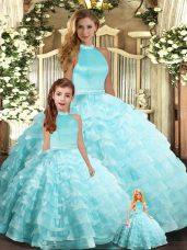 Aqua Blue Organza Backless 15 Quinceanera Dress Sleeveless Floor Length Beading and Ruffled Layers