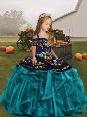 Enchanting Teal Straps Lace Up Embroidery and Ruffles Womens Party Dresses Sleeveless