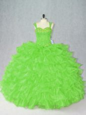 Sleeveless Organza Side Zipper Quinceanera Dress for Sweet 16 and Quinceanera