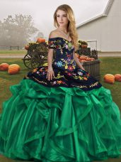 Sweet Off The Shoulder Sleeveless Lace Up Sweet 16 Dress Green Organza