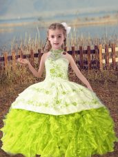 Popular Yellow Green Lace Up Halter Top Beading and Embroidery and Ruffles Little Girl Pageant Gowns Organza Sleeveless