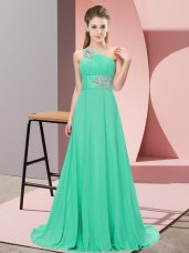 Cute Apple Green Lace Up Prom Evening Gown Beading Sleeveless Floor Length