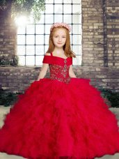 Floor Length Red Little Girls Pageant Gowns Straps Sleeveless Lace Up