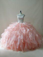 Hot Sale Beading and Ruffles Vestidos de Quinceanera Peach Zipper Sleeveless Floor Length