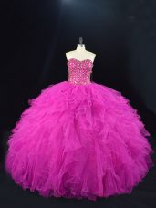 Suitable Fuchsia Ball Gowns Sweetheart Sleeveless Tulle Floor Length Lace Up Beading and Ruffles Quinceanera Gown