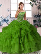 Beading and Pick Ups 15th Birthday Dress Green Zipper Sleeveless Brush Train