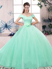 Apple Green Ball Gowns Off The Shoulder Short Sleeves Tulle Floor Length Lace Up Lace and Hand Made Flower Vestidos de Quinceanera