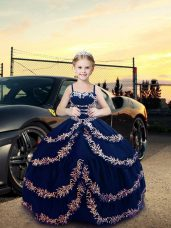 Fancy Ball Gowns Juniors Party Dress Navy Blue Straps Satin Sleeveless Floor Length Lace Up