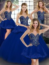 Gorgeous Floor Length Ball Gowns Sleeveless Royal Blue Quinceanera Gowns Lace Up