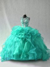 Turquoise Ball Gowns Organza Scoop Sleeveless Beading and Ruffles Floor Length Lace Up Sweet 16 Quinceanera Dress
