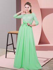 Floor Length Empire 3 4 Length Sleeve Apple Green Bridesmaid Gown Side Zipper