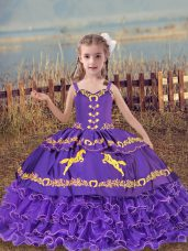 Lavender Ball Gowns Straps Sleeveless Organza Floor Length Lace Up Beading and Embroidery and Ruffled Layers Little Girl Pageant Gowns