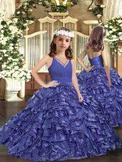 Custom Made Floor Length Lavender Little Girl Pageant Gowns Organza Sleeveless Ruffles
