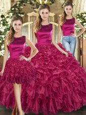 Nice Floor Length Fuchsia Sweet 16 Dress Organza Sleeveless Ruffles