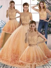 Backless Quinceanera Gowns Gold and Peach for Military Ball and Sweet 16 and Quinceanera with Lace Sweep Train