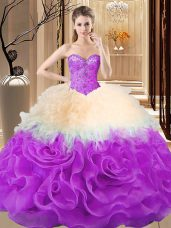 Sweetheart Sleeveless Fabric With Rolling Flowers 15 Quinceanera Dress Beading and Ruffles Lace Up