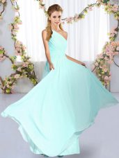High End Sleeveless Chiffon Floor Length Lace Up Bridesmaid Dresses in Blue with Ruching
