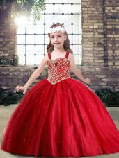 Beading Winning Pageant Gowns Red Lace Up Sleeveless Floor Length