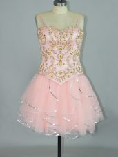 Vintage Pink Spaghetti Straps Neckline Beading and Ruffles Party Dress Sleeveless Lace Up