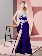 Luxurious Purple Sleeveless Lace and Appliques Floor Length Homecoming Dress
