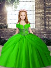 Enchanting Ball Gowns Tulle Straps Sleeveless Beading Floor Length Lace Up Kids Pageant Dress