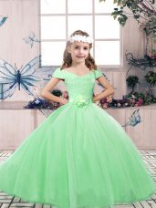 Great Sleeveless Floor Length Lace and Belt Lace Up Little Girls Pageant Dress Wholesale with