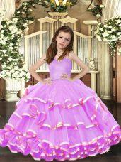 Straps Sleeveless Organza Kids Formal Wear Ruffled Layers Lace Up