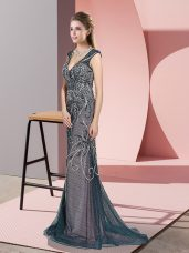 Romantic Sleeveless Tulle Sweep Train Zipper Evening Gowns in Teal with Beading
