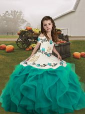 Inexpensive Sleeveless Tulle Floor Length Lace Up Party Dresses in Teal with Embroidery