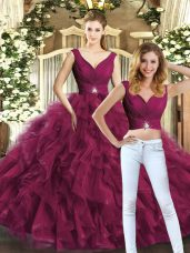 Sleeveless Beading and Ruffles Backless Sweet 16 Quinceanera Dress