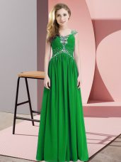 Green Cap Sleeves Floor Length Beading Homecoming Dress