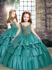 Teal Lace Up Straps Beading Pageant Gowns For Girls Taffeta Sleeveless