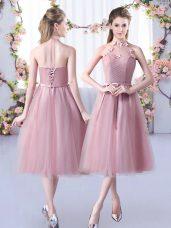 Cheap Tea Length Pink Dama Dress Halter Top Sleeveless Lace Up