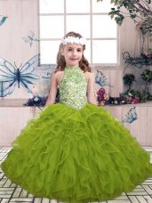 Excellent Olive Green Ball Gowns High-neck Sleeveless Tulle Floor Length Lace Up Beading and Ruffles Little Girls Pageant Dress