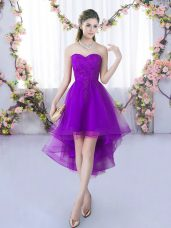 Glamorous High Low Eggplant Purple Dama Dress for Quinceanera Sweetheart Sleeveless Lace Up