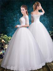 Lace Wedding Gown White Lace Up Half Sleeves Floor Length