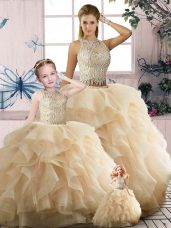 Champagne Scoop Zipper Beading and Ruffles Quinceanera Dress Sleeveless