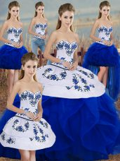 High Class Embroidery and Ruffles and Bowknot Quinceanera Gown Royal Blue Lace Up Sleeveless Floor Length