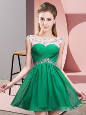 Glittering Turquoise Scoop Neckline Beading and Ruching Party Dresses Sleeveless Backless