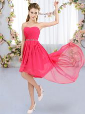 Cheap Sleeveless High Low Beading Lace Up Wedding Party Dress with Hot Pink