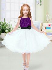 Sleeveless Zipper Knee Length Sequins and Hand Made Flower Flower Girl Dress