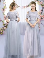 Popular Grey Quinceanera Court Dresses Wedding Party with Lace and Belt Scoop Sleeveless Zipper