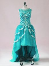 Sophisticated High Low Teal Prom Homecoming Dress Scoop Sleeveless Zipper