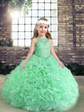 Organza Scoop Sleeveless Lace Up Beading and Ruffles Pageant Gowns For Girls in Apple Green