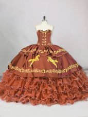 Stunning Sweetheart Sleeveless Brush Train Lace Up Sweet 16 Quinceanera Dress Brown Satin and Organza
