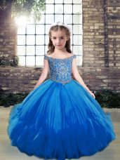 Sleeveless Floor Length Beading Lace Up Winning Pageant Gowns with Blue