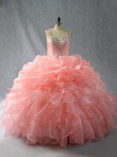 Super Peach Zipper Straps Beading and Ruffles and Pick Ups Quinceanera Dress Organza Sleeveless