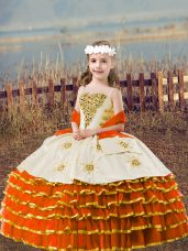 Hot Selling Ball Gowns Party Dress Wholesale Orange Red Straps Organza Sleeveless Floor Length Lace Up